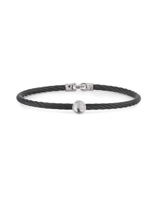 Alor - Black Noir Stainless Steel And 18k White Gold Bangle Bracelet - Lyst