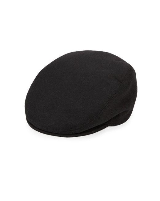 Saks Fifth Avenue Black Piemonte Plaid Virgin Wool-blend Hat for men