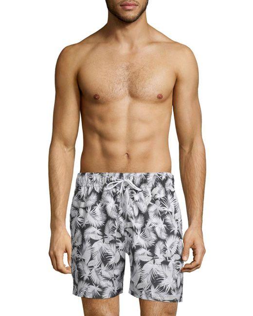 Slate & Stone - Gray Tropical-print Swim Shorts for Men - Lyst