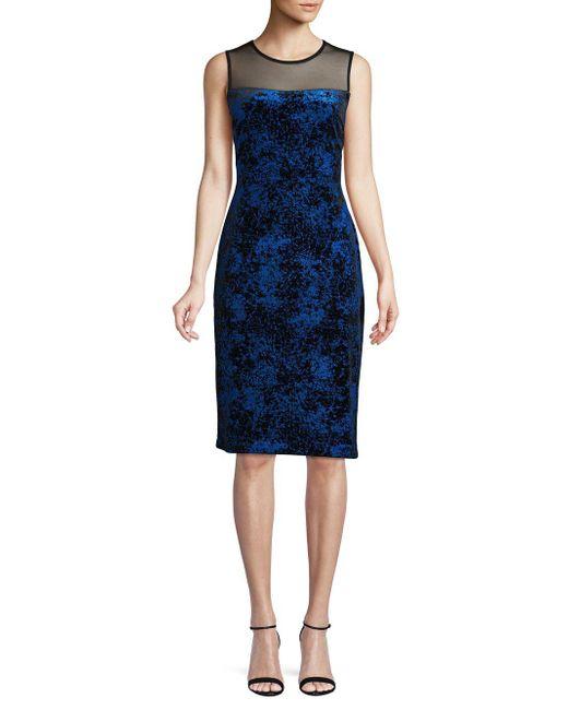 1a89c79fb83 Calvin Klein - Blue Textured Illusion Sheath Dress - Lyst ...