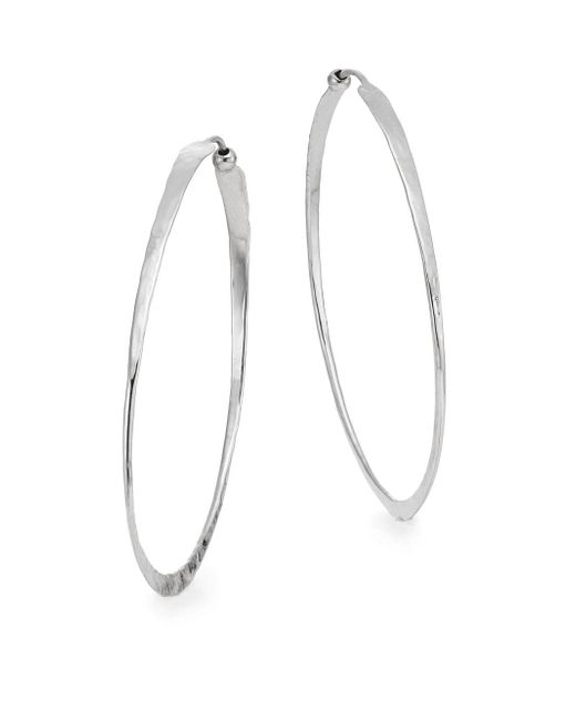 "Saks Fifth Avenue - Metallic Sterling Silver Oval Hammered Twist Hoop Earrings/2"" - Lyst"