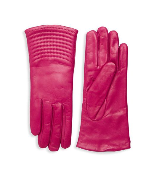Portolano Pink Quilted Wave Leather Gloves
