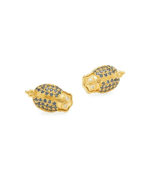 Temple St. Clair - Blue Diamond, Crystal And 18k Yellow Gold Stud Earrings - Lyst