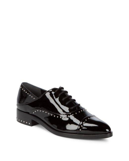 Sigerson Morrison | Black Elinor Studded Patent Leather Oxfords | Lyst