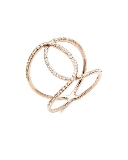 EF Collection - Metallic Diamond Infinity And 14k Rose Gold Ring - Lyst