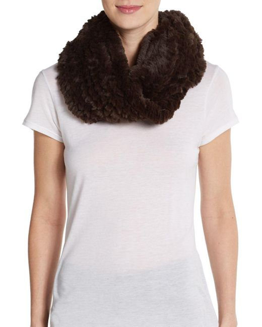 La Fiorentina - Brown Faux Fur Infinity Scarf - Lyst