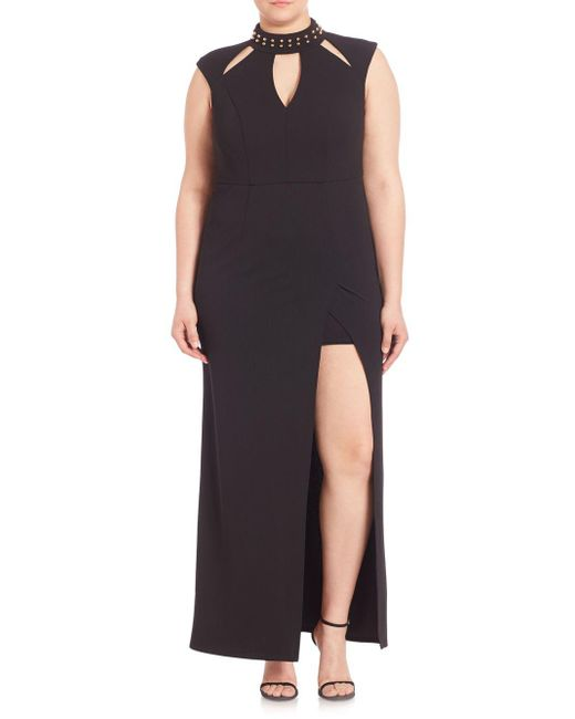 ABS By Allen Schwartz - Black Plus Embellished Cutout Gown - Lyst
