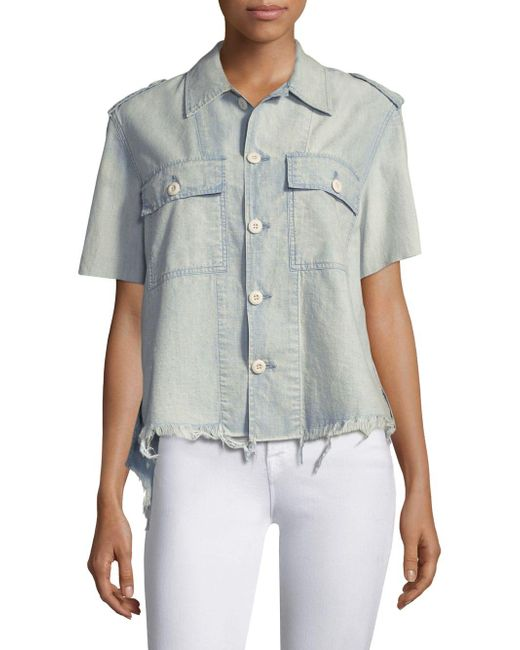 AMO - Blue Army Chambray Button-front Shirt - Lyst