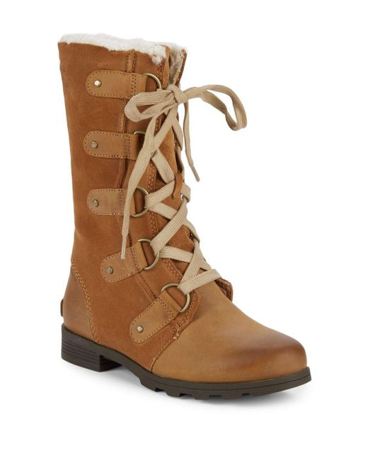 4aa15b6d8229ef Sorel - Brown Emelie Faux Fur Lace-up Leather Boots - Lyst ...