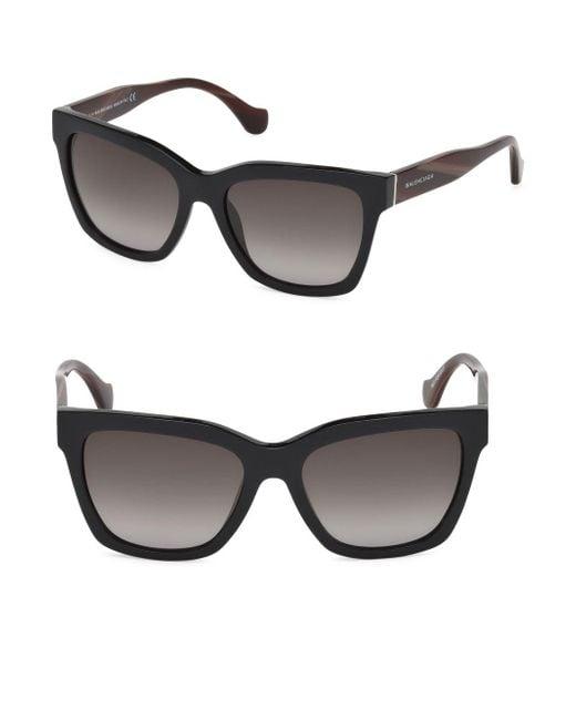 f02ee939d5e Balenciaga - Black 55mm Square Sunglasses - Lyst ...
