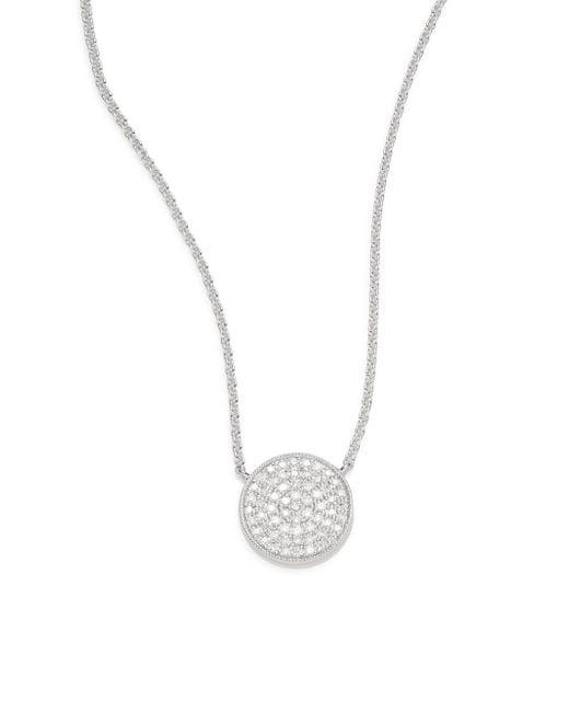Saks Fifth Avenue   Metallic 0.18 Tcw Diamond & 14k White Gold Disc Necklace   Lyst