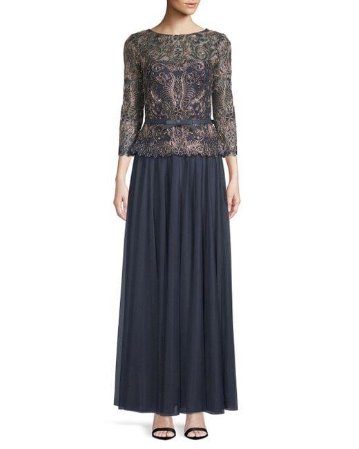 Tadashi Shoji - Blue Boatneck Embroidered Gown - Lyst