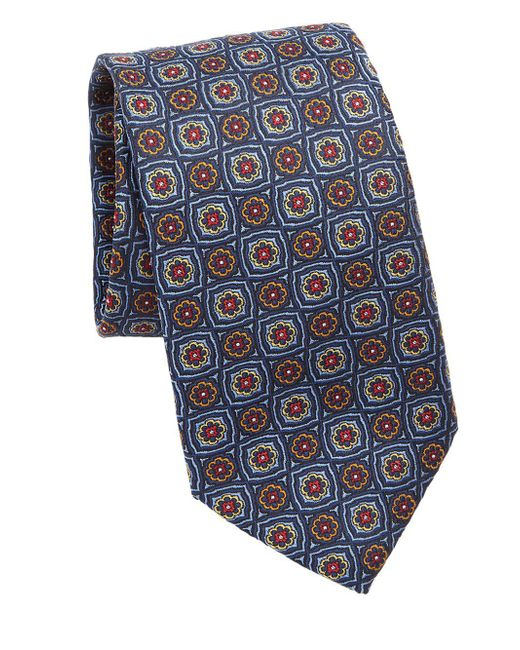 Saks Fifth Avenue - Blue Collection Floral Check Silk Tie for Men - Lyst