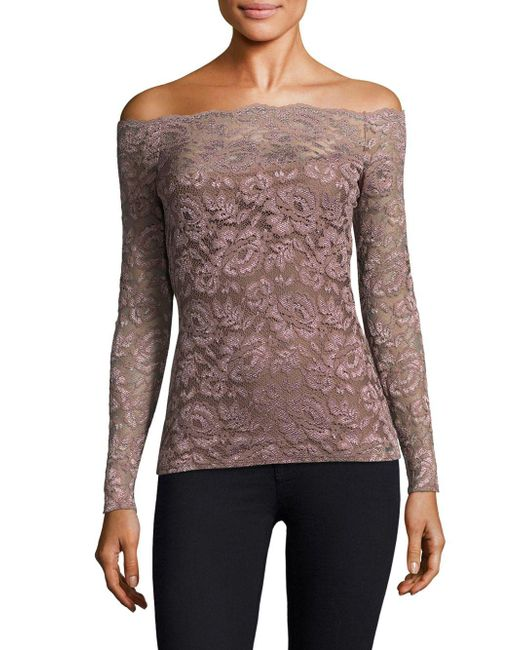 L'Agence - Multicolor Heidi Off-the-shoulder Lace Top - Lyst