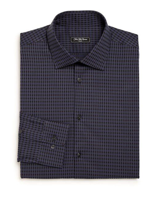 Saks Fifth Avenue - Blue Modern Regular-fit Checked Cotton Dress Shirt for Men - Lyst