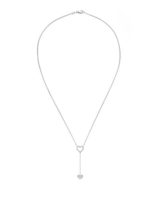 Saks Fifth Avenue - Metallic Diamond & 14k White Gold Double Heart Pendant Necklace - Lyst