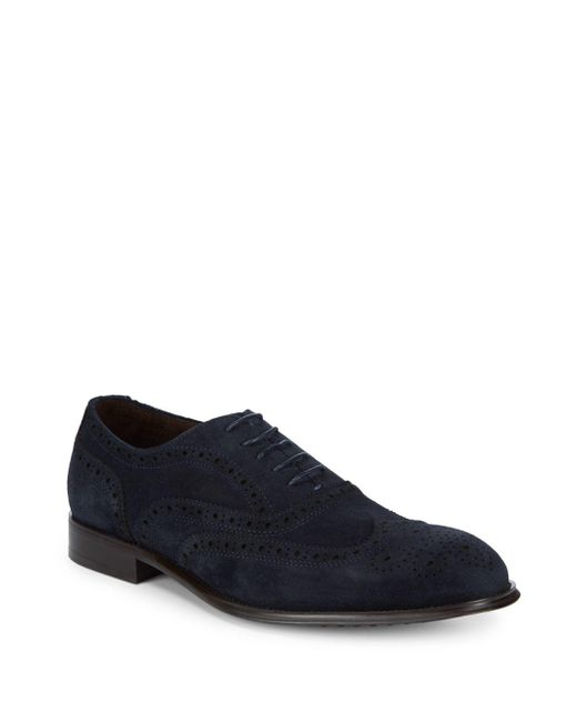 Kenneth Cole - Blue Suede Perforated Lace-up Shoes for Men - Lyst