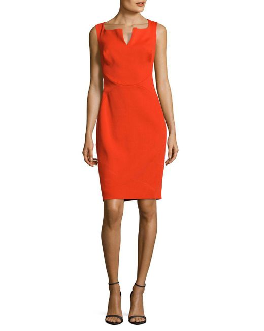 Zac Posen - Orange Solid Sleeveless Dress - Lyst