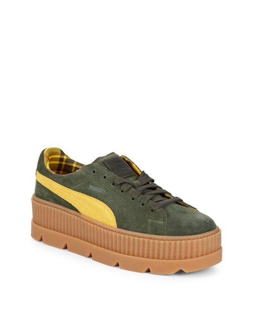 PUMA - Green Cleated Creeper Suede Platform Sneakers - Lyst