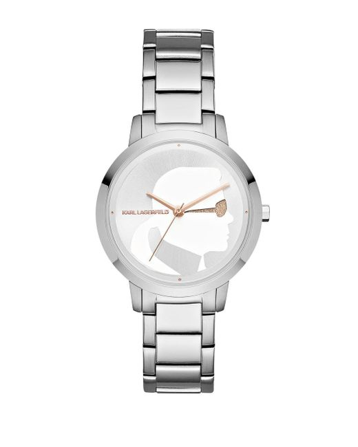 Karl Lagerfeld - Metallic Camille Stainless Steel Three-hand Bracelet Watch - Lyst