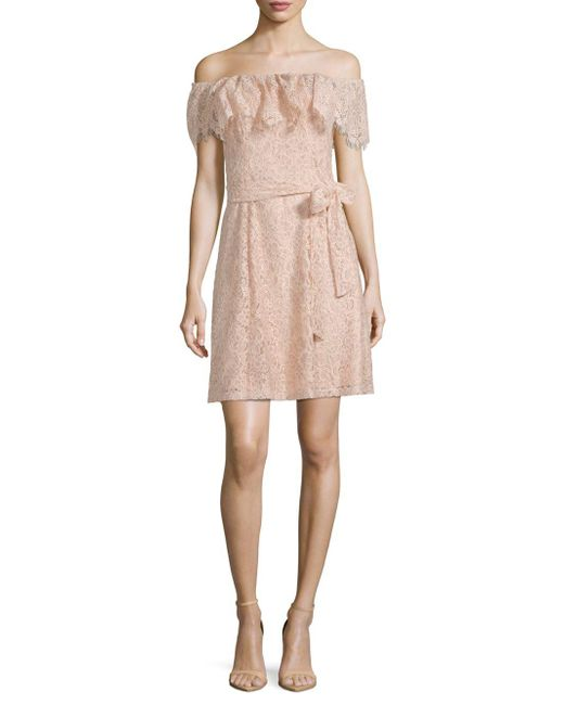Julia Jordan - Pink Floral Lace Mini Dress - Lyst