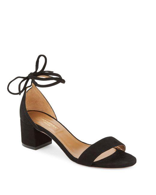 Aquazzura - Black City Ankle Tie Block Heel Sandals - Lyst