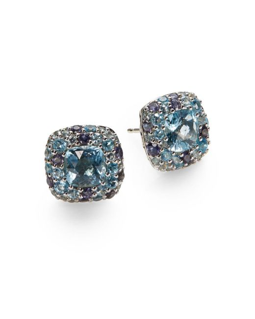 John Hardy | Blue Batu Aquamarine & Sterling Silver Stud Earrings | Lyst
