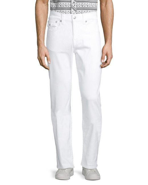True Religion White Ricky Relaxed-fit Straight Jeans for men