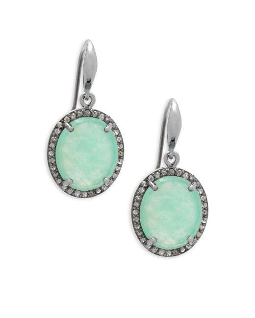 Bavna - Metallic Chrysoprase & Pavè Diamond Drop Earrings - Lyst
