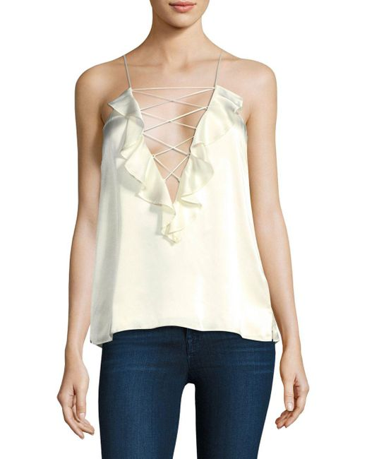 Cami NYC White The Ruffle Charlie Silk Camisole