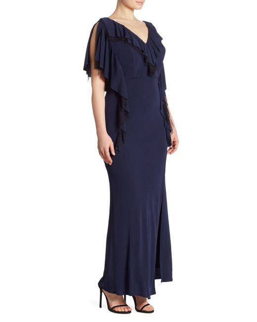 ABS By Allen Schwartz - Blue Plus Matte Jersey Ruffle Gown - Lyst