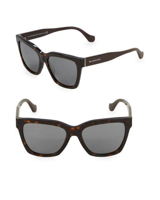 Balenciaga - Brown Tortoiseshell 55mm Square Sunglasses - Lyst