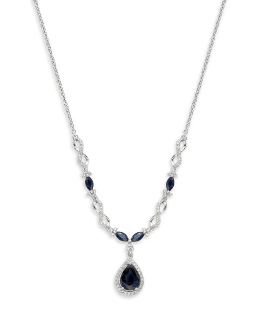 Effy - Metallic 14k White Gold, Sapphire & Diamond Pendant Necklace - Lyst
