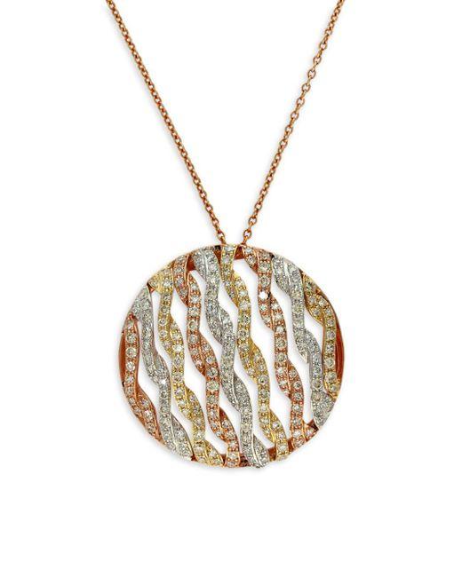 Effy - Metallic 14 Kt. Gold Tri Color Diamond Pendant Necklace - Lyst