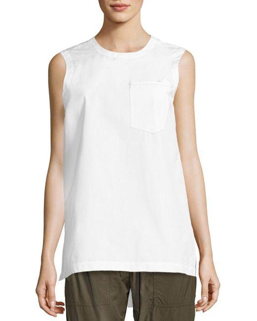 Donna Karan - White Solid Sleeveless Top - Lyst