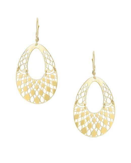 Saks Fifth Avenue - Metallic 14k Yellow Gold Cut-out Drop Earrings - Lyst