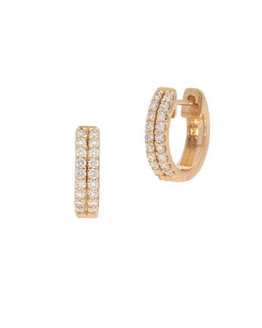 Nephora - Metallic 14k Yellow Gold & Diamond Two-row Huggie Earrings - Lyst