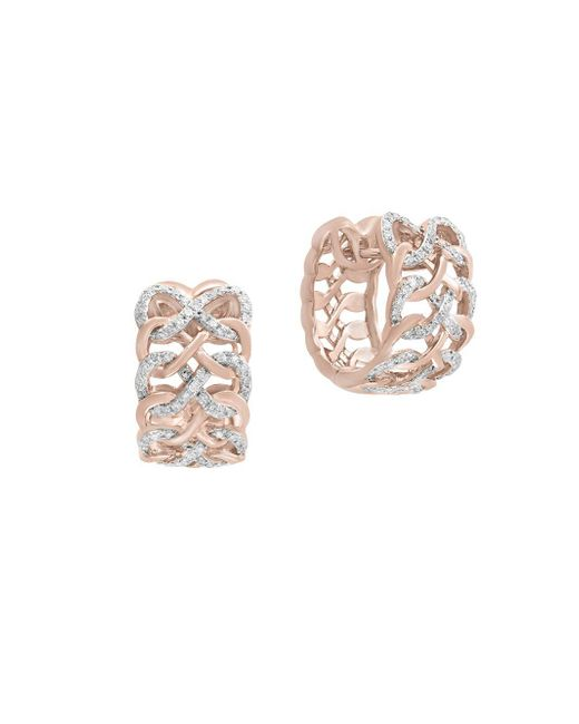 Effy - Metallic 14k Rose Gold & Diamond Huggies Earrings - Lyst
