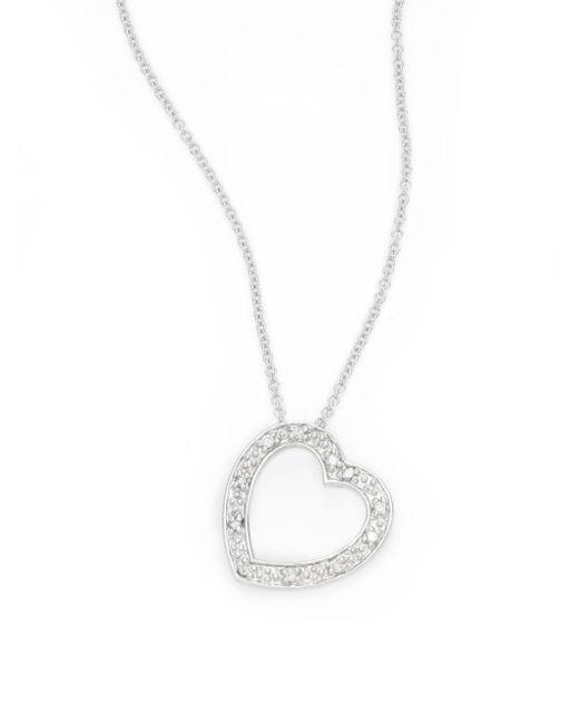 Effy | Metallic Diamond & 14k White Gold Heart Pendant Necklace | Lyst