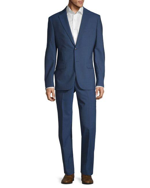 John Varvatos Blue Slim-fit Wool Suit for men