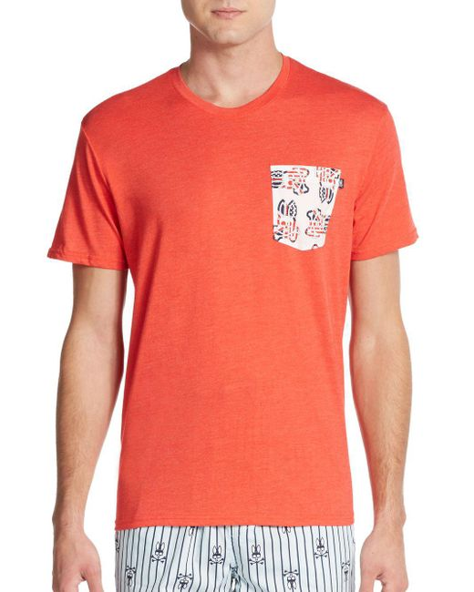 Psycho Bunny | Red Logo Pocket Cotton Jersey Lounge Tee for Men | Lyst
