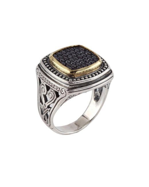 Konstantino - Asteri Square Black Diamond, 18k Yellow Gold And Sterling Silver Ring - Lyst