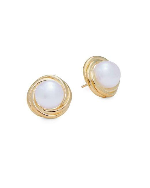 Saks Fifth Avenue - Metallic Yellow Gold & Pearl Knot Stud Earrings - Lyst