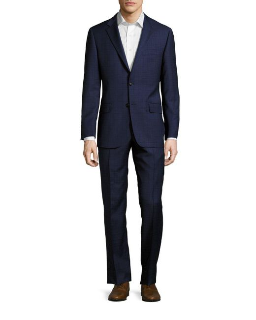 Hickey Freeman   Blue Regular-fit Plaid Wool Suit for Men   Lyst
