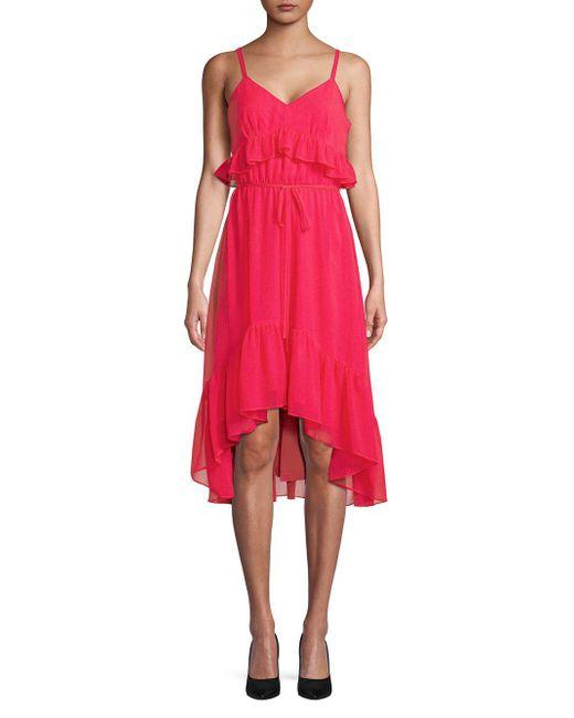 Calvin Klein - Red Ruffle V-neck Hi-lo Dress - Lyst