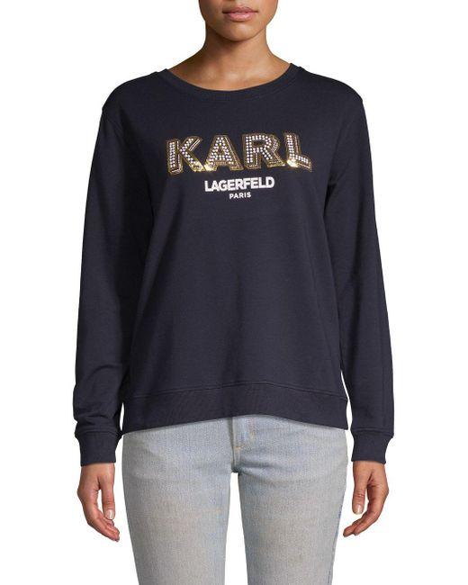 Karl Lagerfeld - Multicolor Embellished Logo Sweatshirt - Lyst