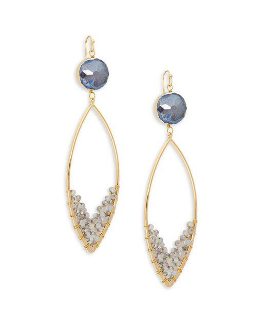 Panacea - Gray Goldplated Grey Gemstone Marquis Dangle Drop Earrings - Lyst