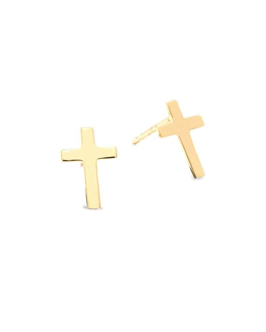 Saks Fifth Avenue - Metallic 14k Yellow Gold Cross Earrings - Lyst
