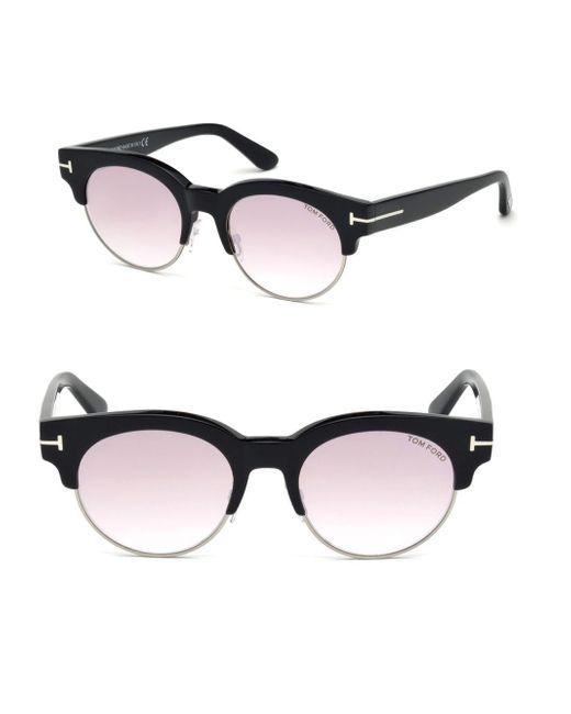 95956325ed Tom Ford Henri 52mm Round Cat-eye Sunglasses in Black for Men - Lyst