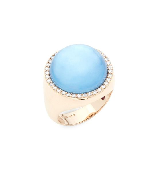 Roberto Coin - Blue Pearl, Diamond, Topaz, Lapiz And 18k Rose Gold Cocktail Ring - Lyst